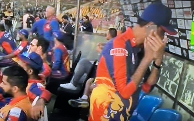A member in Karachi Kings dugout uses Mobile phone during their PSL opener; invites controversy