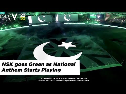 NSK goes Green as National Anthem Starts Playing | HBL PSL 2020
