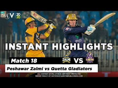 Peshawar Zalmi vs Quetta Gladiators | Full Match Instant Highlights | Match 18 | 5 Mar | HBL PSL 5