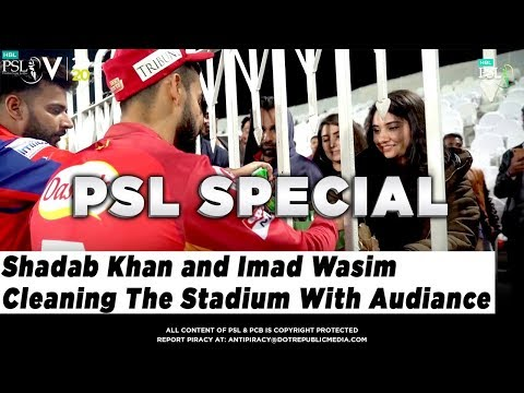 Shadab Khan and Imad Wasim Cleaning The Stadium With Audience | HBL PSL 5 | 2020